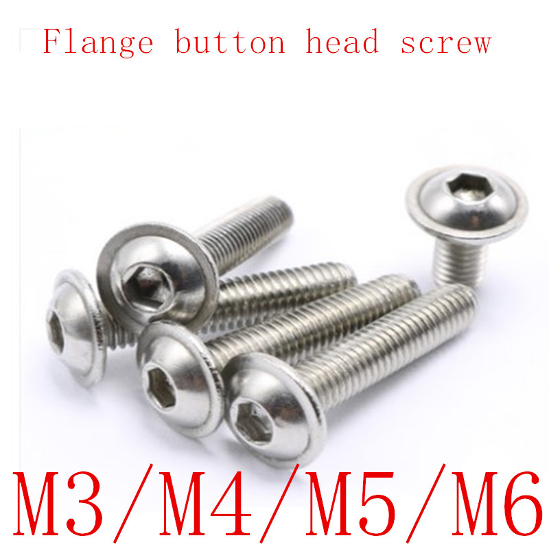 100PCS M3 M4 M5 M6*6-30 304 Stainless Steel Half Round button Flange Head with Washer Inner Hex Socket allen Screws Bolt resistance study in tomato