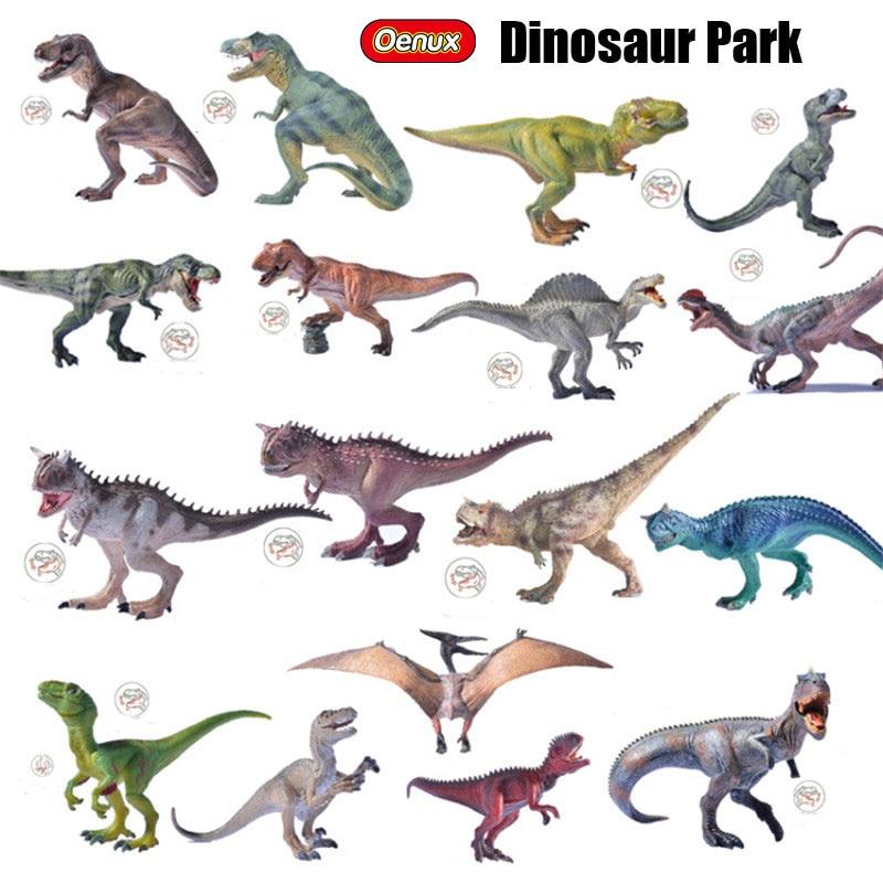 Oenux Jurassic Therizinosaurus Dinosaurs World Model King T-REX Triceratops Spinosaurus PVC Action Figures Toy For Boy's Gift voyager scorn spinosaurus dinosaurs action figure classic toys for boys children gift