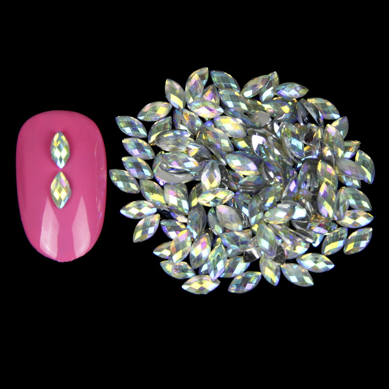 1000PCS/LOT Holographic Horse Eyes Nail Art Rhinestones AB Color Marquise Nails Jewelry Accessories Women Decoration WY513 1000pcs lot ab color marquise nail art rhinestones women decoration diy nail jewelry accessories 3d nail art supply tools wy505
