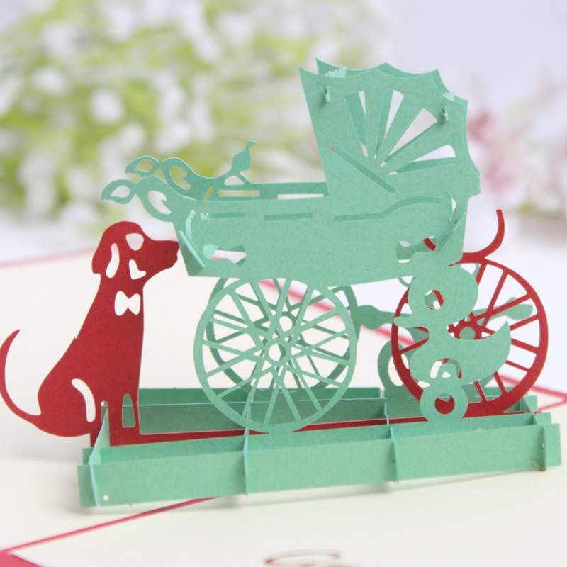 3d pop up baby carriage card postcards greeting card for 3d decoration for birthday