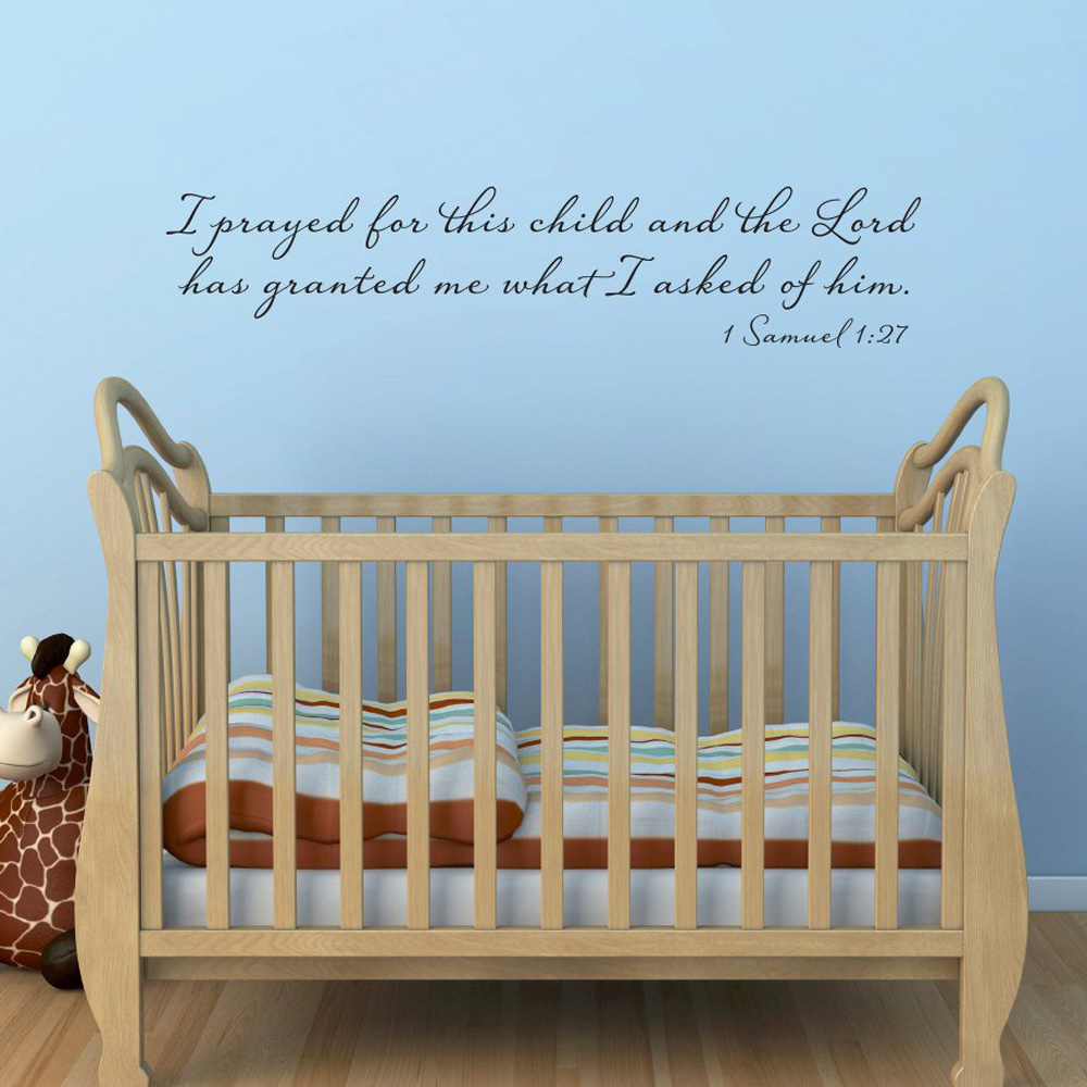 wall stickers I prayed for this child and the Lord has granted me what I asked of him Wall Decal Bible Verse Christian Decor 104 image