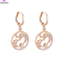 Angel Bola Wholesale 25pair Stud Earrings Women Animal Dolphin Rhinestone Copper Earings Fashion Jewelry Anti-allergic E-037