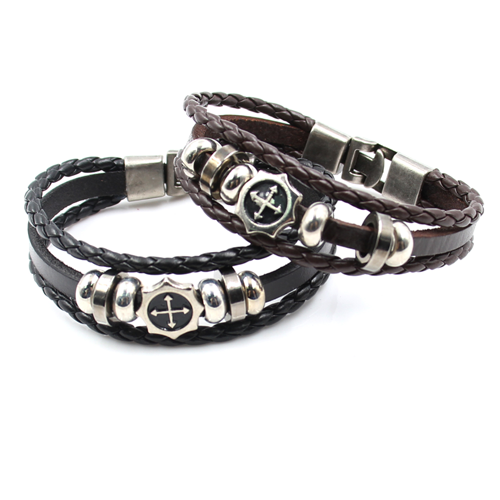 Men's Round Cross Genuine Leather Cuff Bracelet Black & Brown Beads  Multilayer Bangle With Silver Alloy