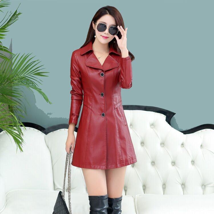 Mince Ligne 2018 Bouton Une down Femme Mode Confortable Rouge Noir Hiver red Black Solide Tranchée Féminine Turn Longue Et Col Gaine Nk8OXwPn0
