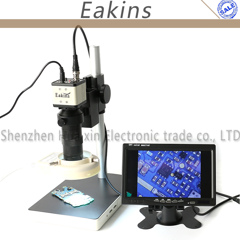 800TVL 1/3  CCD Digital Industry BNC Color Video Microscope Camera Set + 100X C-Mount Lens +Stand+56 LED Light + 7 LCD Monitor usb vga outputs ccd cmos industry microscope camera 100x c mount lens 56 led ring light stand holder for bga ic phone pcb