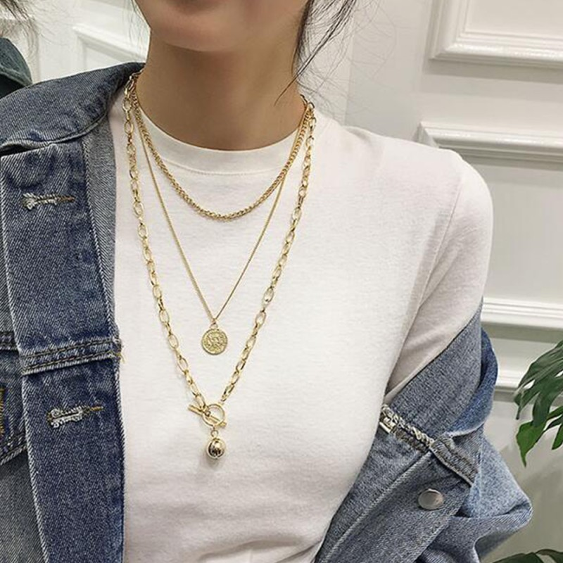 Lalynnlys Boho Retro Human Head Multi-layer Necklaces Gold Round Coin Pendant Necklace For Bohemian Statement Jewelry N68731