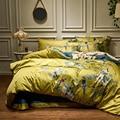 Di seta di cotone Egiziano Giallo Verde Piumino Da Letto Copertura foglio di Biancheria Da Letto lenzuolo set King Size Queen Set ropa de cama /linge de lit