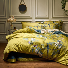 Silky Egyptian cotton Yellow Chinoiserie style Birds Flowers Duvet Cover Bed sheet Fitted sheet set King Size Queen Bedding Set cheap IvaRose HOME TEXTILE None Sheet Pillowcase Duvet Cover Sets 1 8m (6 feet) 2 0m (6 6 feet) Quality R-1001 500TC Printed