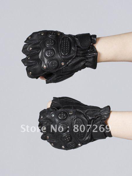 Real Leather Half Finger Gloves for Taekwondo Sanda Martial Arts