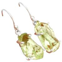 Lovegem Genuine Green Amethyst Earrings 925 Sterling Silver 34mm AE1215