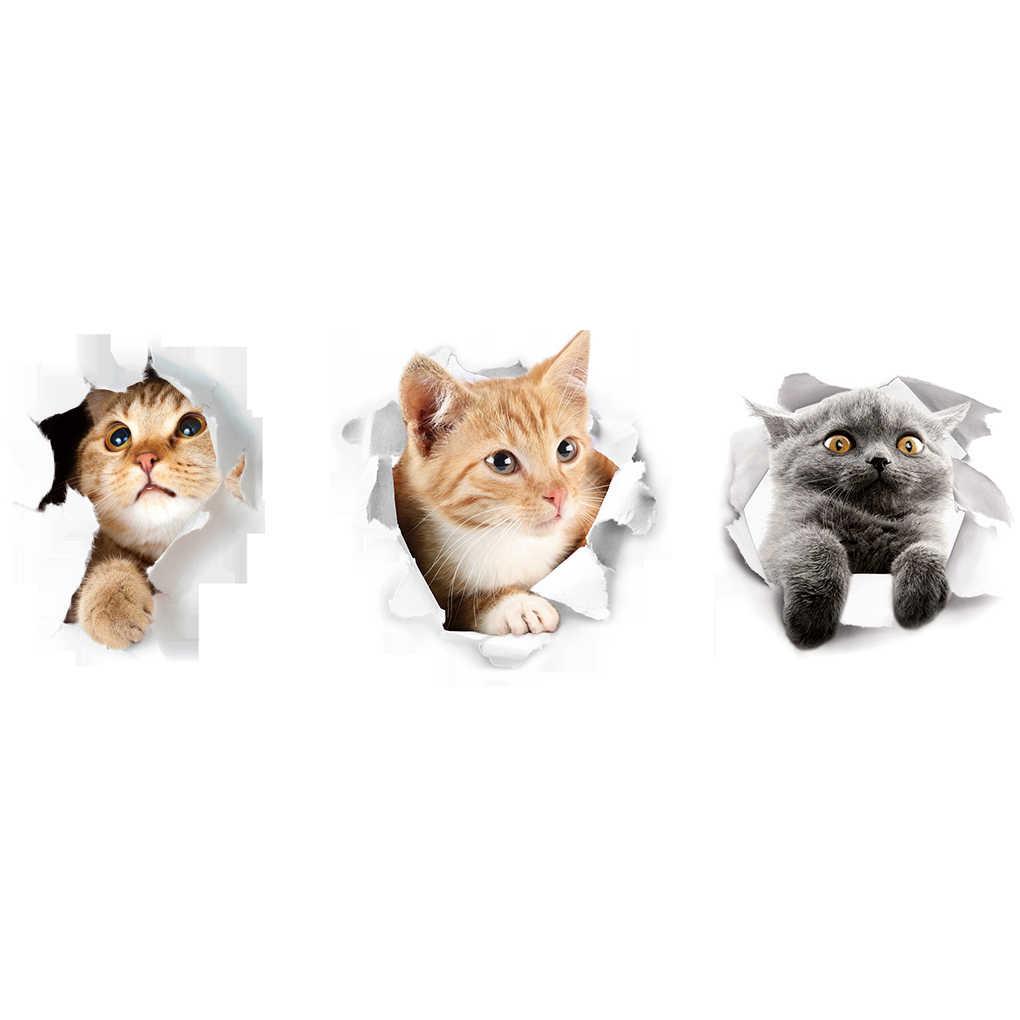 Hot 3D Anak Kucing Lucu Closestool Stiker Anak-anak Kamar Tidur Dinding Dekorasi Kucing Kartun Kulkas Stiker