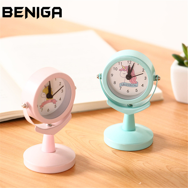 ebe681cce0feb6 Cute Girls Unicorn Mini Retro Alarm Clock Fresh Pink Metal Shell Table Clock  Student Portable Desk Decor Clock
