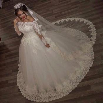 Pretty Embroidery Lace Arabic Wedding Dress  Ball Gown Bride Dress Long Sleeve Court Train Plus Size Wedding dresses W0093