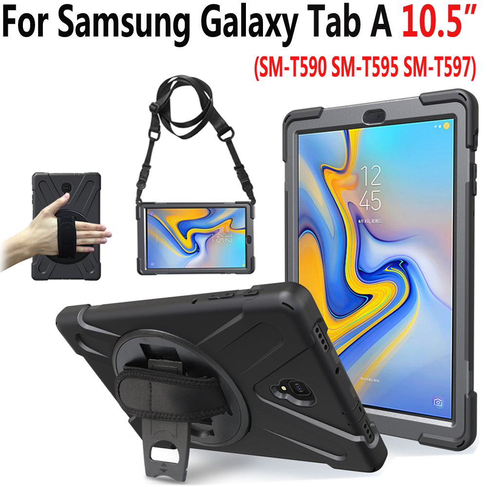 Rotating Hand Shoulder Strap Case for Samsung Galaxy Tab A A2 10.5 2018 T590 T595 T597 Shockproof Cover for Samsung Tab A 10.5 планшеты samsung tab