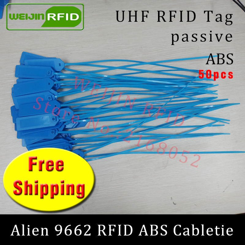 UHF RFID tag ABS cable tie Alien 9662 915mhz 868mhz 860-960MHZ Higgs3 EPC ISO18000-6C 50pcs free shipping smart passive RFID tag 1000pcs long range rfid plastic seal tag alien h3 used for waste bin management and gas jar management