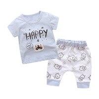 2017 New Kids Baby Boys Clothes Summer Cartoon Vest Pant 2pcs Cotton Toddler Boys Clothing Sets