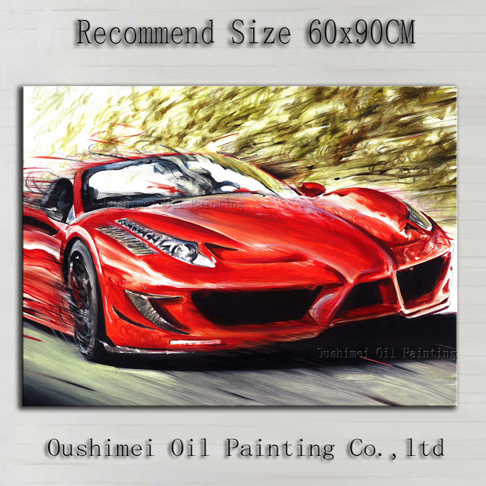 Superb Artist Hand-painted Red Master Super Car Oil Painting On Canvas Handmade Red Car Oil Painting For Wall Decoration