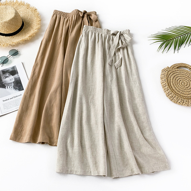 2019 summer new style art cotton and linen pants loose skirt nine points big feet wide leg women casual