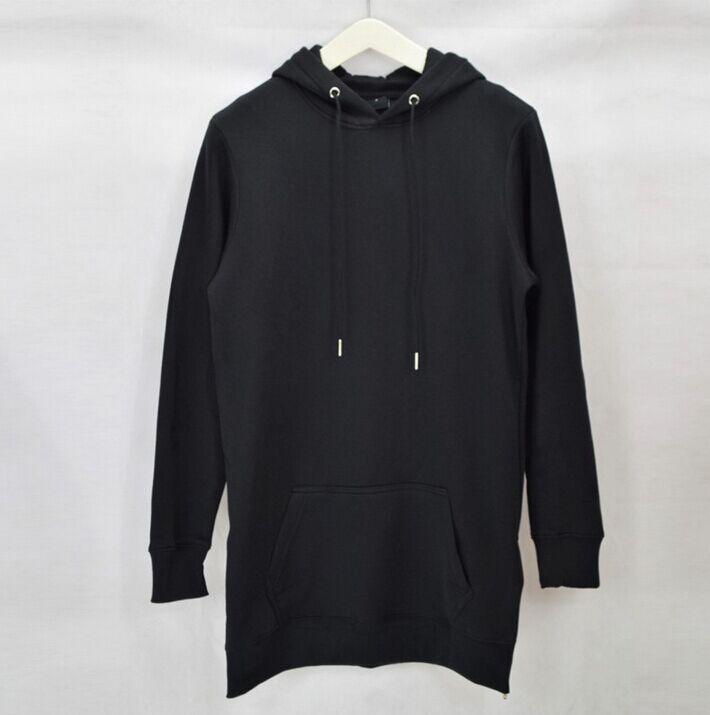 2018 Streetwear Men s Long Black Hoodies Sweatshirts Feece extra long Hoody  Side Zip Longline Hip Hop elongated for men Hoodie-in Hoodies   Sweatshirts  from ... ceebd247cb1