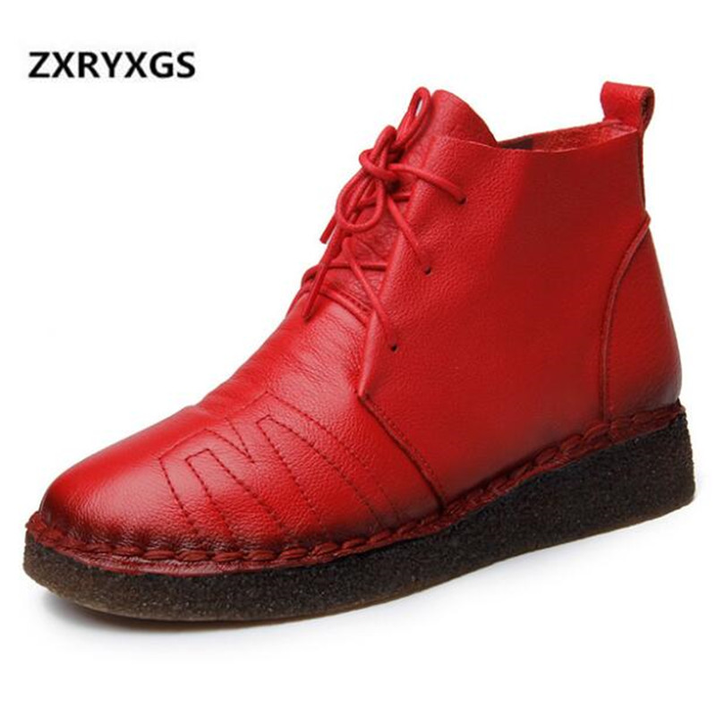 2019 New Spring Lace Cow Leather Boots Women Comfort Soft Bottom Flat Boots Shoes Woman Non slip Breathable Ankle Boots Women