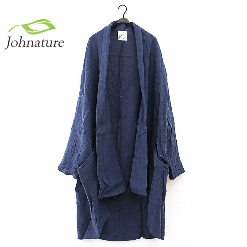 Johnature 2018 New Women Cotton Linen Retro Original Vintage Plus Size Maxi Long Sleeve Cardigan Leisure Loose Long   Trench   Coat