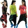 2015 Nuevo hip hop de Moda las mujeres superior femenina de danza Jazz desgaste del funcionamiento del traje ropa de la etapa de neón recorte Atractivo de la camiseta