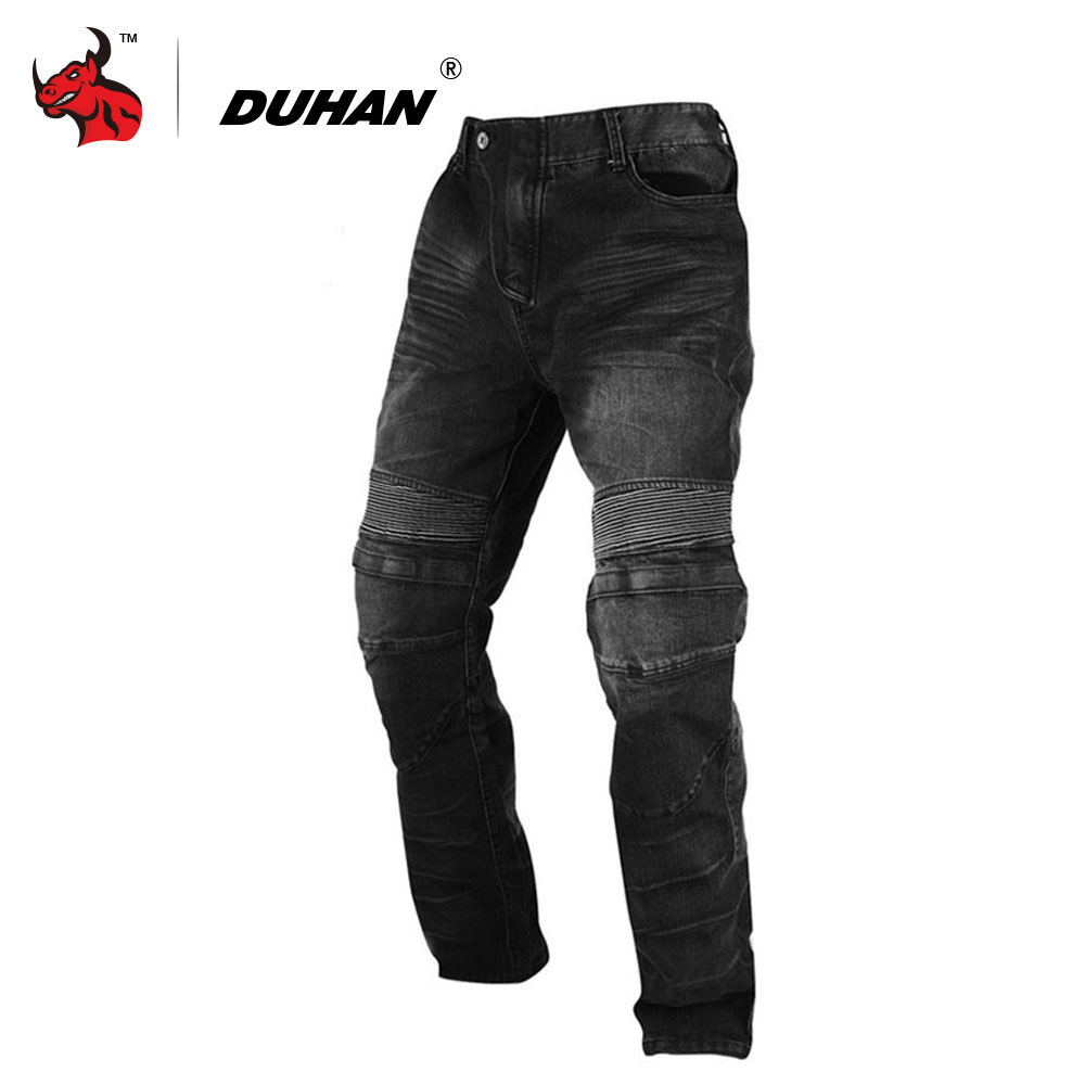 DUHAN Men Motorcycle Jeans Motorcycle Pants Motocross Racing Jeans Wearproof Casual Pants With Knee Protector Guards Moto Pants italian vintage designer men jeans classical simple distressed jeans pants slim fit ripped jeans homme famous brand jeans men
