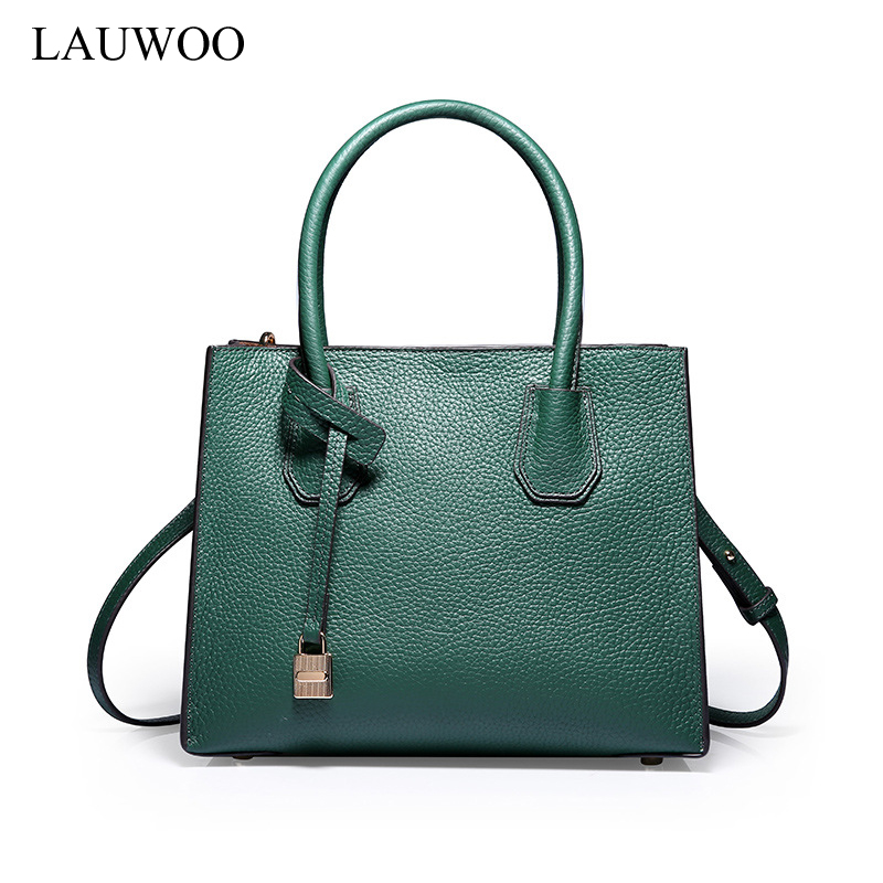 LAUWOO High quality Brand Women Lock bag ladies Genuine Leather Shoulder bag fashion Composite bags Girls casual handbag luxury genuine leather bag fashion brand designer women handbag cowhide leather shoulder composite bag casual totes
