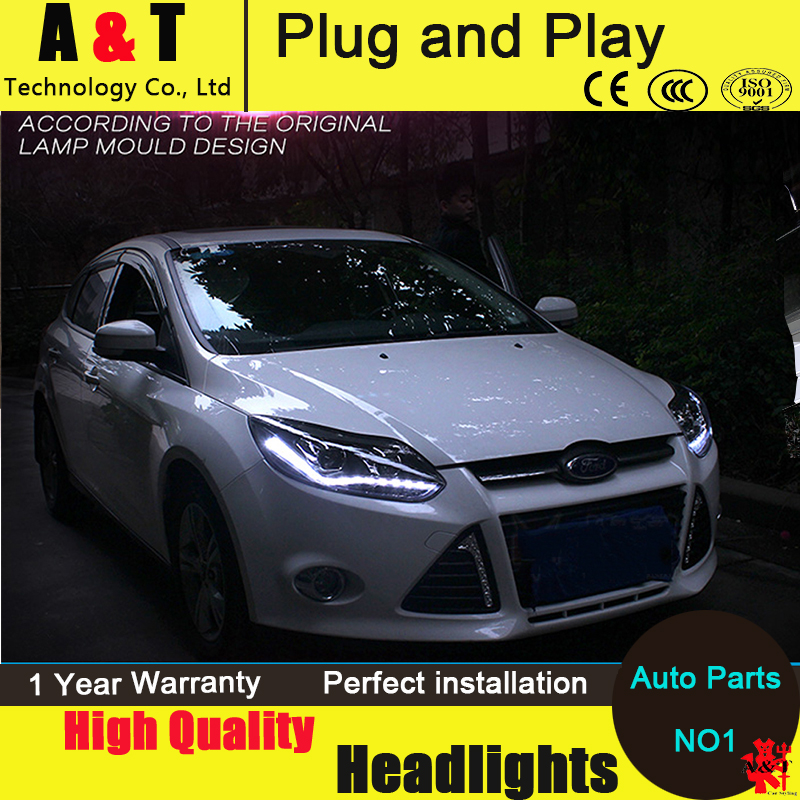 Car styling led head lamp for ford focus 3 headlights 2012-2014 europe led guide light drl h7 hid bi-