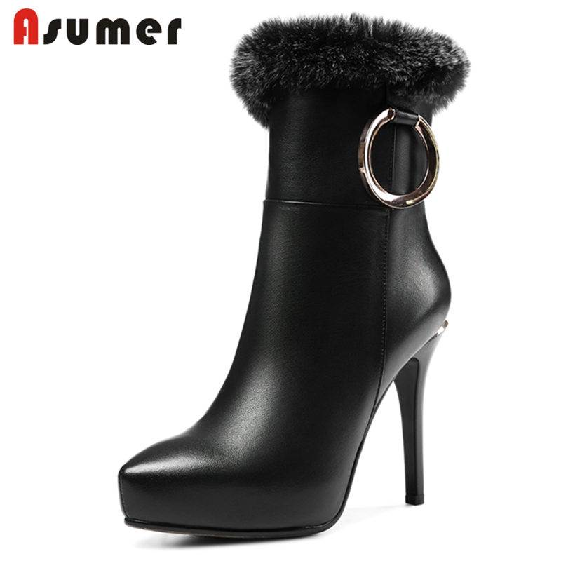 ASUMER 2018 NEW fashion genuine leather boots super high stiletto heels ankle boots for women fur platform zipper winter bootsASUMER 2018 NEW fashion genuine leather boots super high stiletto heels ankle boots for women fur platform zipper winter boots