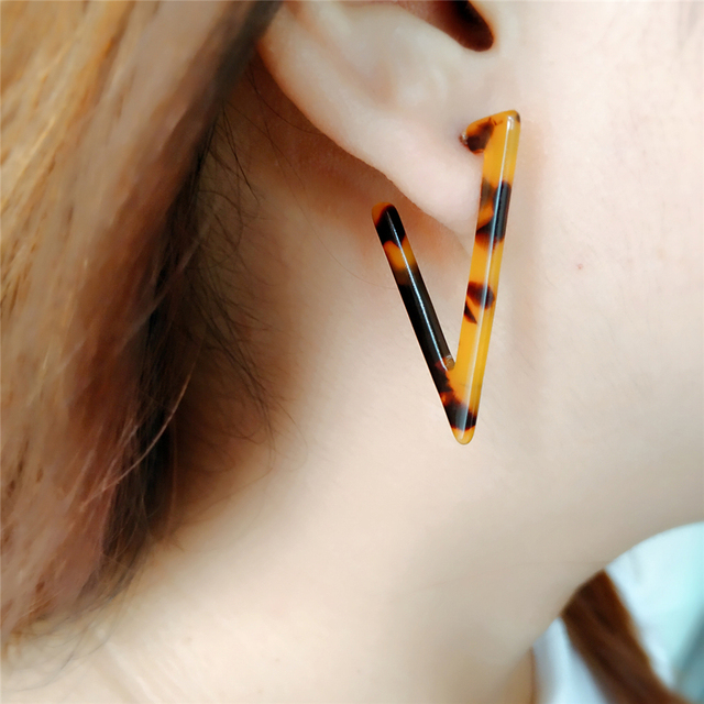 Triangle Tortoise Shell Hoop Earrings Women