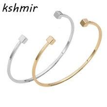 Bracelet géométrique simple pour femmes, en forme de forme carrée, en cuivre, en métal, punk rock, Promotion du commerce extérieur