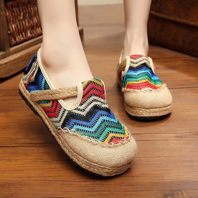Women Shoes Female Natural Linen Loafers Stitched Casual Slip-On Solid Round Toe Ethnic Fashion