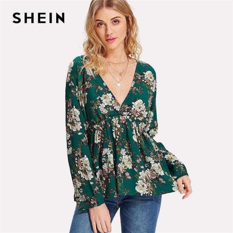 Aliexpress Com Buy Shein Frilled High Waist Floral Top