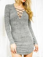 Lace Up Sweater Dress V Neck Spring Women Plus Size Grey Mini Shirt Dresses With Long