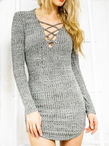 Lace Up Sweater Dress V Neck Spring Women Plus Size Grey Mini Shirt Dresses With Long Sleeves Casual Vintage Girl Dress