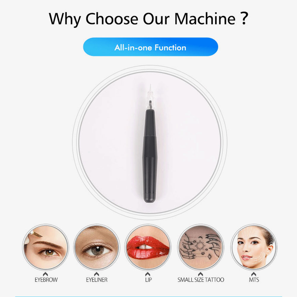 Image 2 - Professional Permanent Makeup Tattoo Machine Eyebrow Machine Pen Contour Style Tattoos Pen with Tattoo Needles-in Tattoo Guns from Beauty & Health