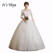c560287b Es Yiiya cuello Barco De la mitad mangas piso De longitud vestido De blanco  vestido De boda Simple barato vestido De Novia Vesti.