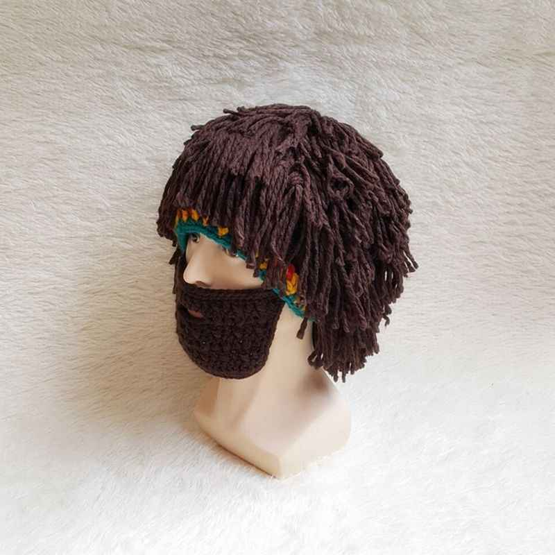 b25da0a2e35 ... GNHYLL Adult Funny Wig Beard Cosplay Party Hats Hobo Mad Scientist  Caveman Winter Caps Men Women ...