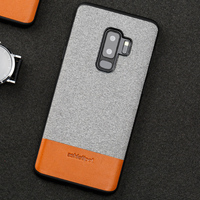Wangcangli Canvas stitching Cowhide for samsung s9 leather phone case magnetic adsorption mobile phone protection case