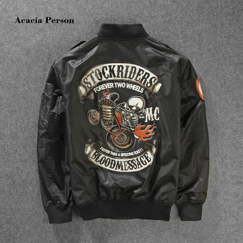2017 New Stockriders Motorcycle Luxury Brand Bomber Jackets Men Big Size Baseball Skull Jacket Men Pilot MA 1 Jackets M 3XL-in Jackets from Men's Clothing    1