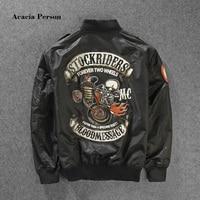 2017 New Stockriders Motorcycle Luxury Brand Bomber Jackets Men Big Size Baseball Skull Jacket Men Pilot MA 1 Jackets M 3XL