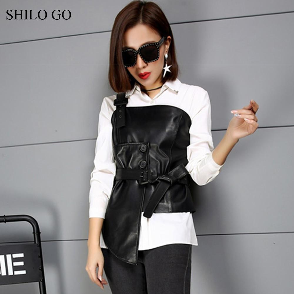 76cb980e7 Vintage Moda Oveja Otoño Piel Cuero Genuino Hombro Mujer Blusa Shilo  Cintura Collar De Ir U0XRv