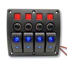 4 point combination panel switch DC12V / 24V Waterproof Blue Led For car yacht With Overload Protection