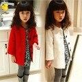 Rojo blanco cálido Niñas prendas de vestir exteriores del niño abrigo de invierno otoño 2016 trinchera niño medio-largo primavera y el otoño de lana superior escudo