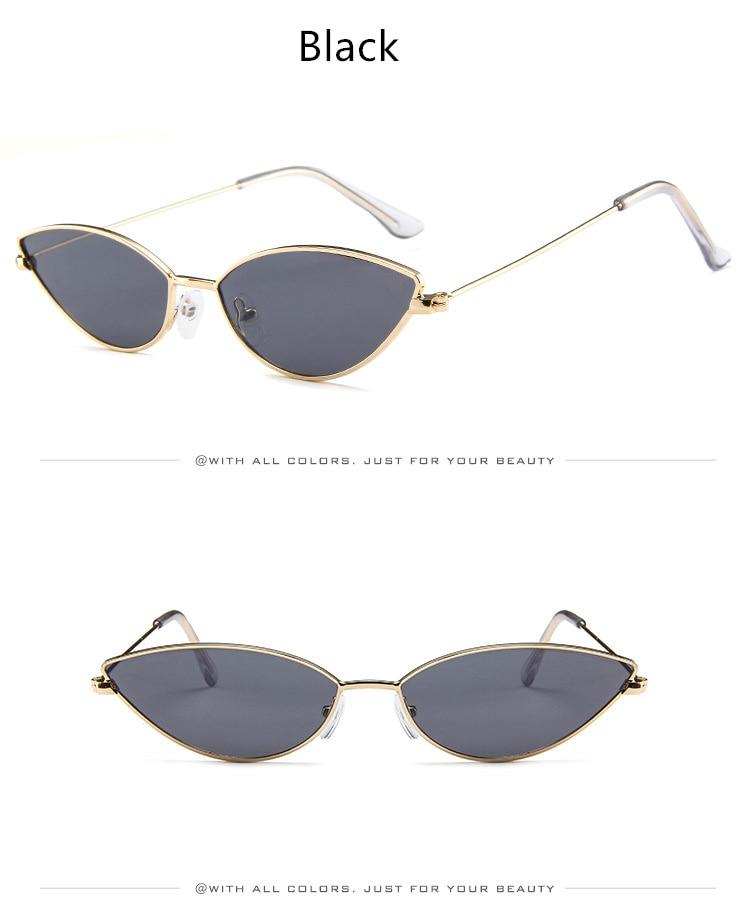 3815be94963 YOOSKE Sexy Cat Eye Sunglasses Women Vintage Small Metal Cateye Sun ...