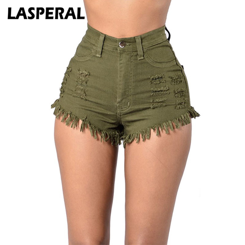 New Casual   Shorts   Women Sexy Elastic High Waist Pockets Jeans   Short   Woman Summer Fashion Denim   Shorts   Solid Tassel Ripped   Shorts