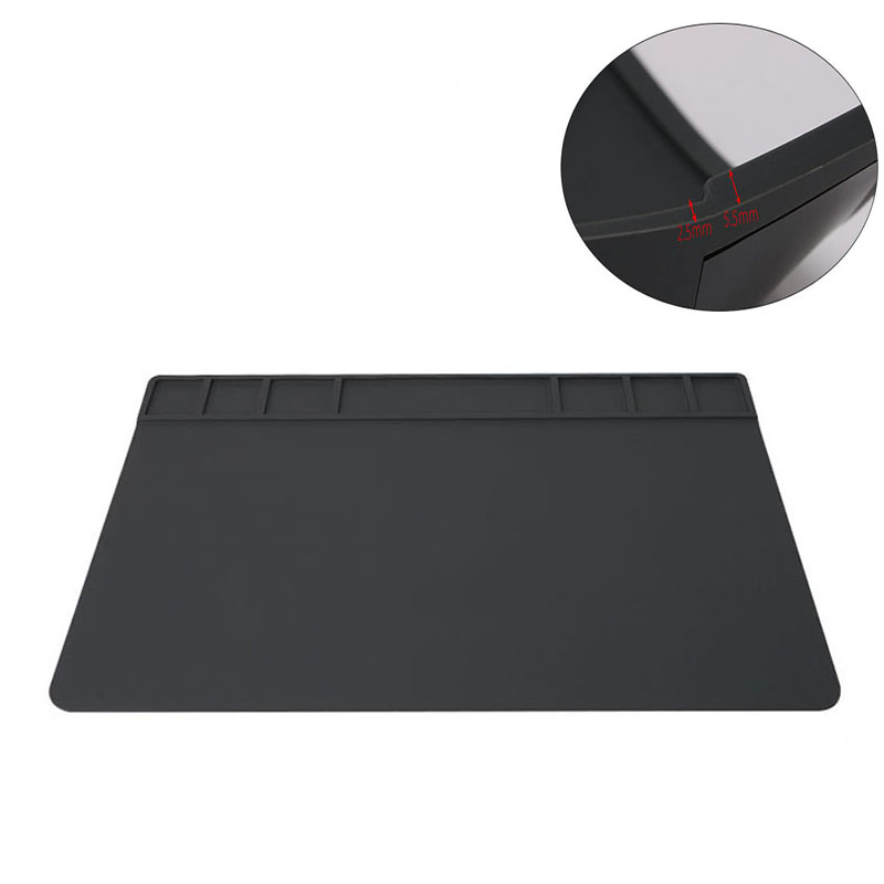 Mobile phone repair Station 49x35cm heat insulation silicone pad magnetic mat section platform soldering repairing platform diy silicone thermal pad heat conduct mat for heat sink grey 400mm x 200mm x 1mm