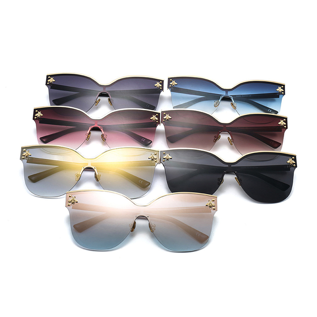 ladies Oversize Rimless Sunglasses Women 2018 Fashion Cat Eye Bee Sun Glasses Female Retro Brand Designer lentes de sol mujer 4