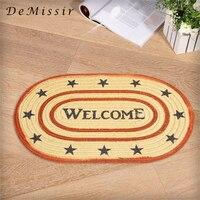 DeMissir 51x75cm Vintage Old USA Stars Jute Linen Braided Carpet Floor Woven Door Mat Living Room